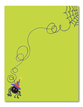 Its a creepy spider springing down a web with a halloween hat on!  This fun green laser paper is perfect for sending out your halloween announcements.